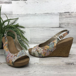 Aerosoles Floral Print Wedge Sandals [493s4]